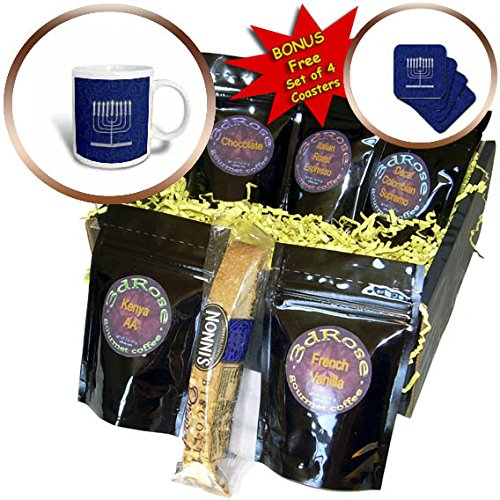 3dRose Doreen Erhardt Hanukkah Collection - Silver Faux Glitter Menorah Festival of Lights Hanukkah on Blue - Coffee Gift Baskets - Coffee Gift Basket (Collection Menorah)