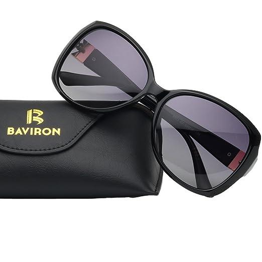 51001c446f5 BAVIRON Womens Butterfly Sunglasses Oversized Marbles Polarized UV400  Glasses (Black Grey)