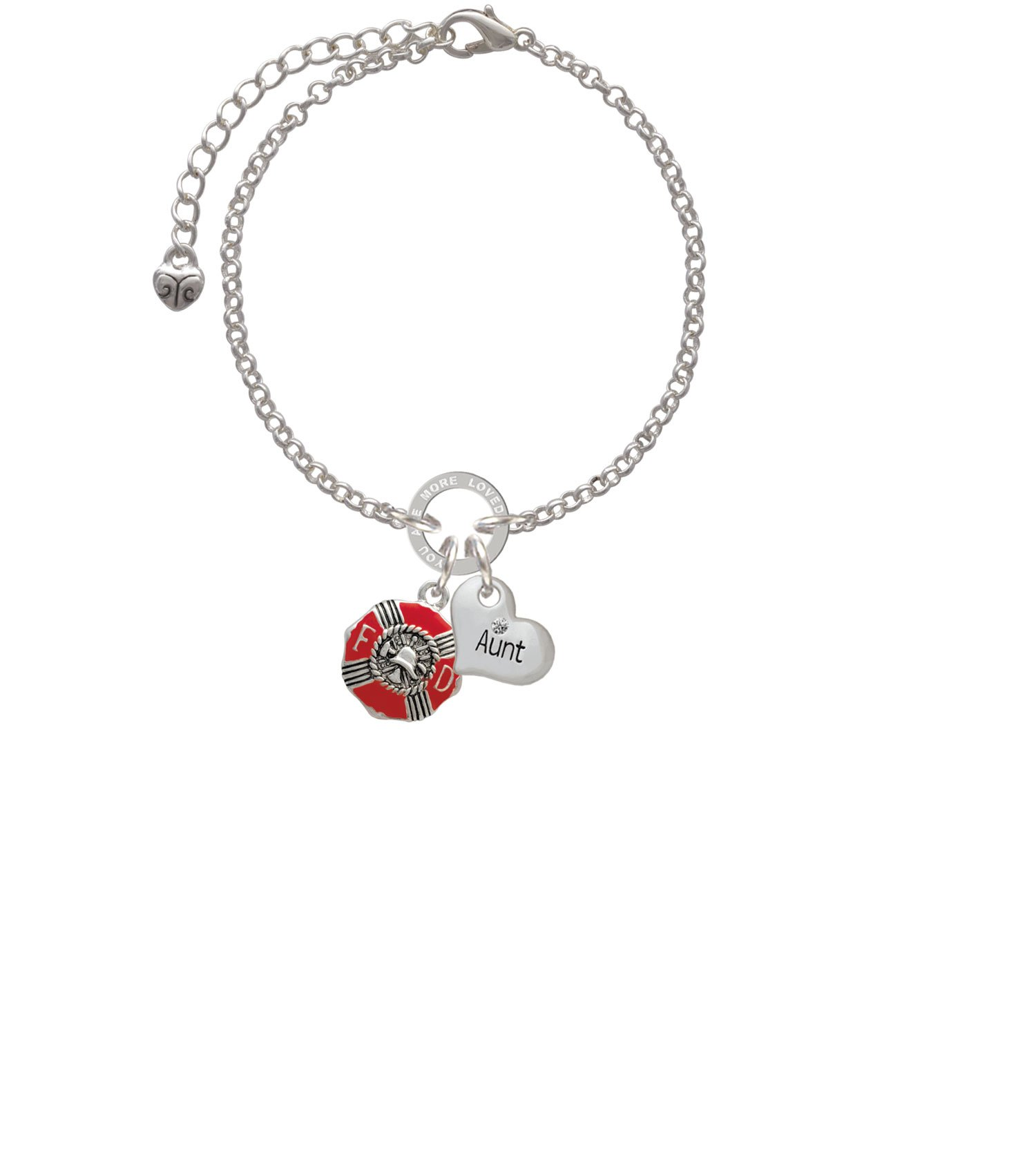 Silvertone Red Enamel Fire Department Medallion Aunt You Are Loved Circle Bracelet, 8''
