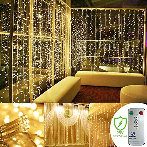 Kohree 300 LED Window Curtain Lights, String Light, Icicle Light, Wedding Light Remote Control Outdoor Indoor Decoration for Bedroom, Garden, Warm White, 8 Mode, UL Certified 9.8 ft 9.8 ft 12