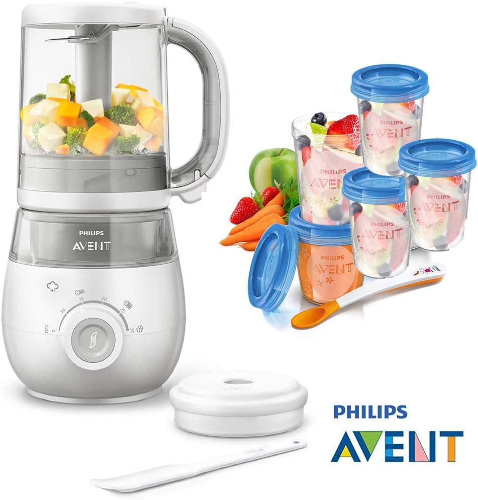 Philips Avent Easypappa SCF 875/02 - Juego de cocción al vapor 4 en 1 (incluye batidora, calentador, descongelación, cuchara y 5 vasos para alimentos): Amazon.es: Bebé