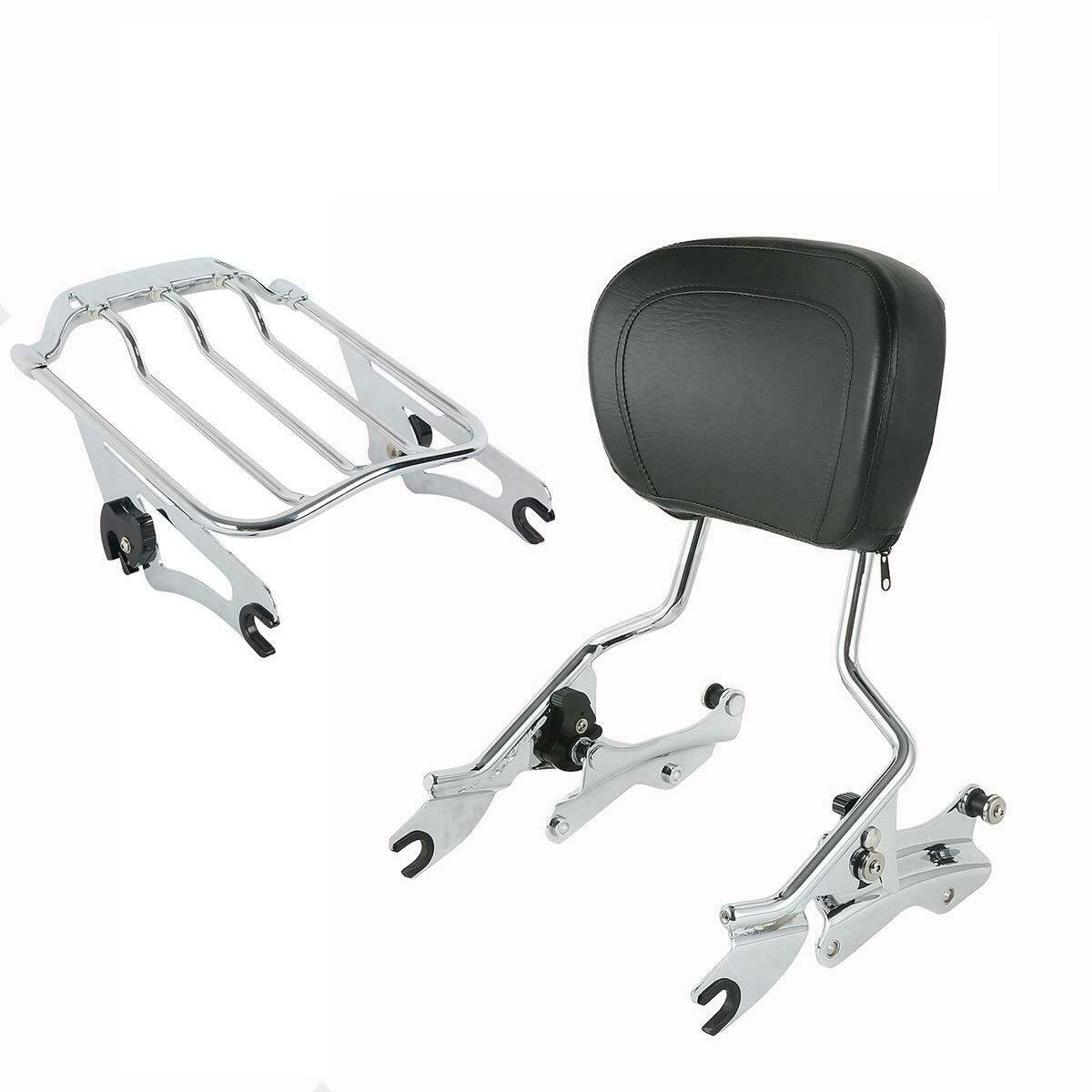 TCMT Detachable Passenger Backrest Sissy Bar With 2 Up Air Wing Luggage Rack 4 Point Docking Hardware Kits Fits For Harley Touring 2009-2013