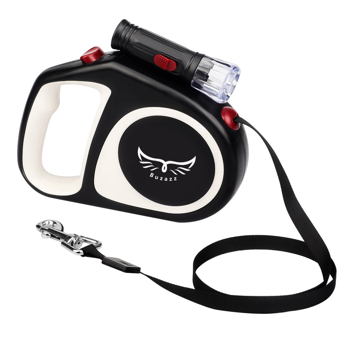 Buzazz Retractable Dog Leash, 5m/16ft Automatic Retractable Dog Walking Lead for Small Medium Dog With Anti-Slip Handle and LED nightlight, Moving Free, One Button Break & Lock