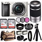 Sony Alpha a6000 Mirrorless Digital Camera 2 Lens Kit (SELP1650 + SEL55210) & Havan Camera Case 64GB Kit