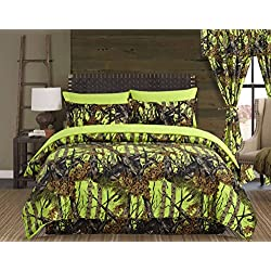 Regal Comfort The Woods Lime Green Camouflage Queen 4 Piece Premium Luxury Comforter, Bed Skirt, and 2 Pillow Shams Set - Camo Bedding Set For Hunters Cabin or Rustic Lodge Teens Boys and Girls