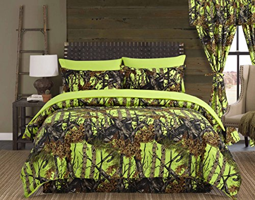 (Regal Comfort The Woods Lime Green Camouflage King 4 Piece Premium Luxury Comforter, Bed Skirt, and 2 Pillow Shams Set - Camo Bedding Set for Hunters Cabin or Rustic Lodge Teens Boys and Girls )