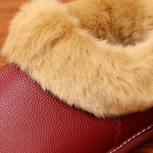 La première couche de coton dhiver chaud chaussons hommes et femmes dhiver séjour couple dépaisseur, non-glisser la courroie suivi par le paquet avec chaussures coton ,26= (35-36), sombre couleur