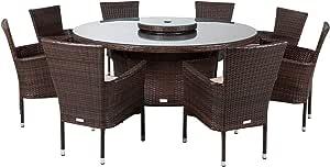 Rattan Direct Muebles de ratán para Exteriores, Mesa Redonda Grande, Incluye Mesa de Comedor de Cambridge de 8 plazas, Color marrón: Amazon.es: Jardín