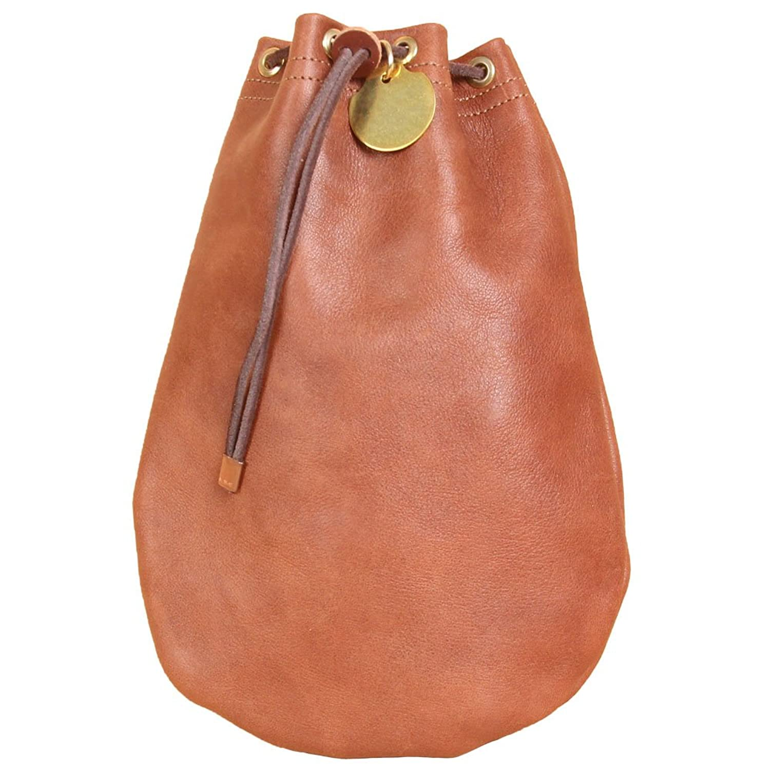 Soft Genuine Milled Tan Leather Drawstring Money Bag Made in USA