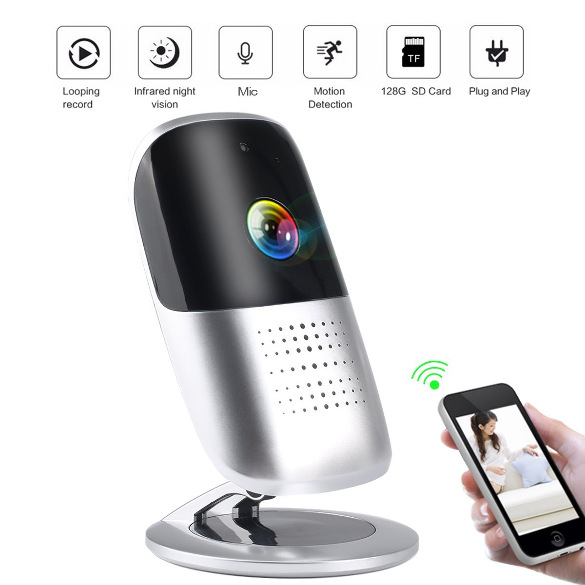 1080P HD IP Wireless Monitoring Security Camera with Night Vision, Two Way Audio, and Cloud Recording for Home Baby Safety