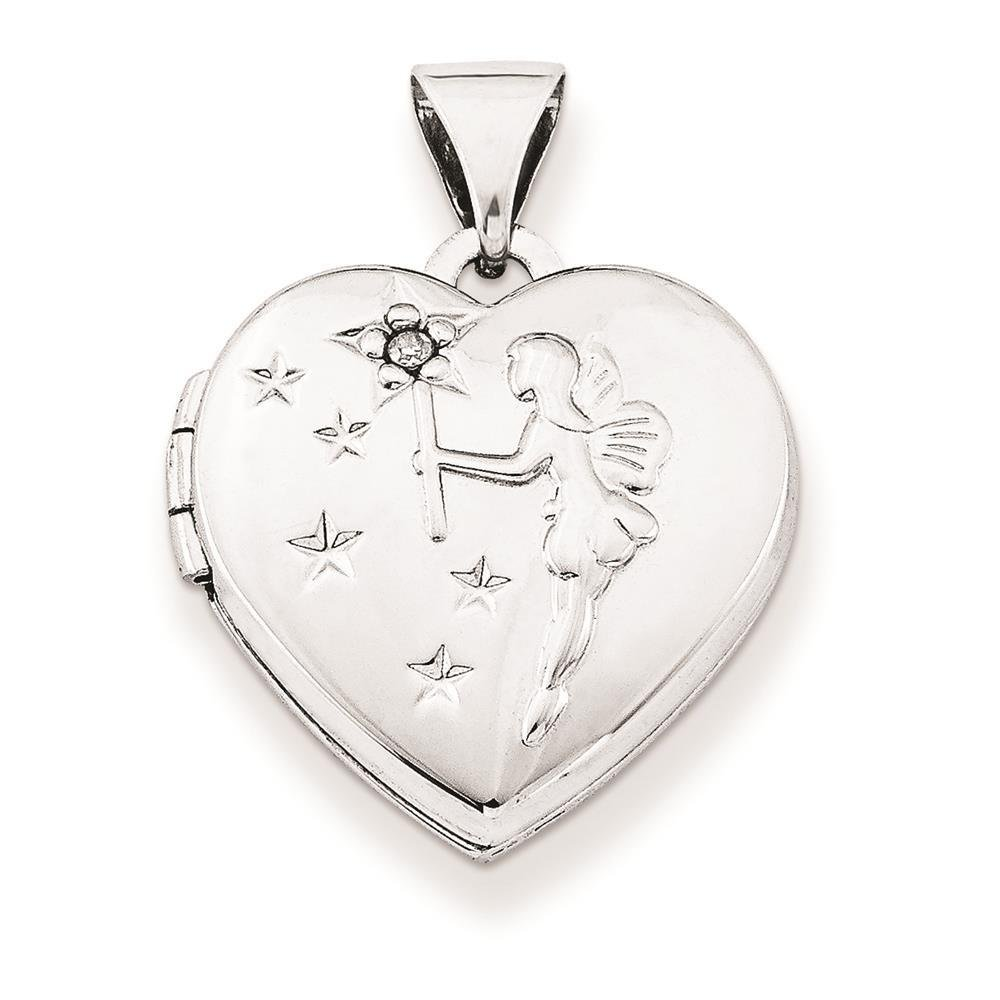 Holds 2 Photos 925 Sterling Silver Polished Diamond Fairy Wishes Heart Shape Locket Charm Pendant