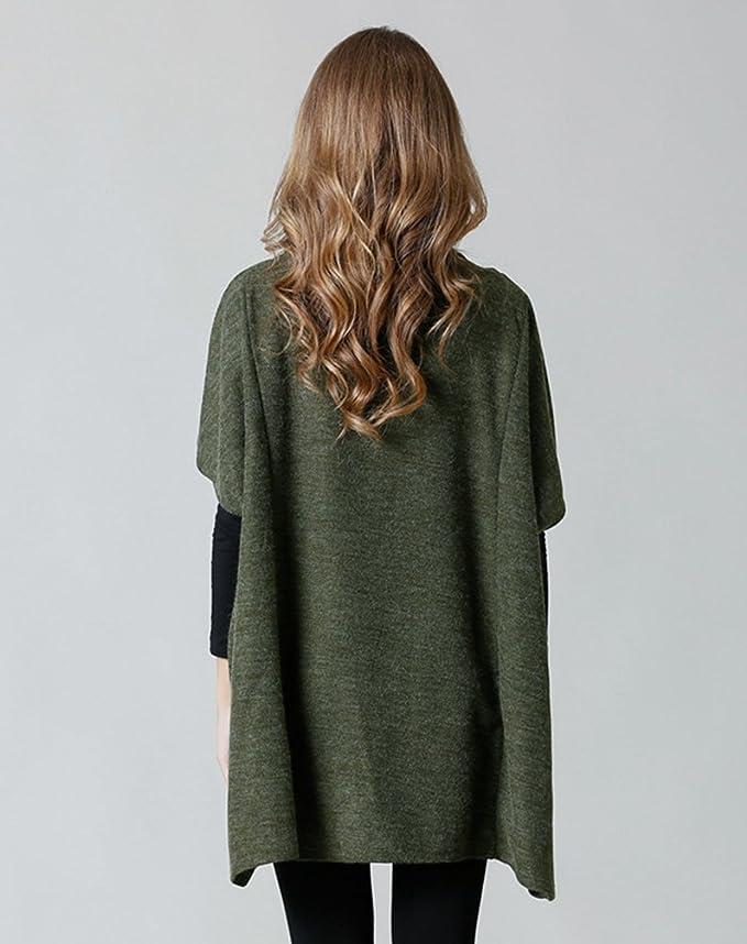 Jitong Mujer Poncho de Punto Jersey Suéter de Suelto de Cuello Alto  Oversize Jumper Tops Estilo1 Ejercito Verde  Amazon.es  Ropa y accesorios 542e306bd7ae