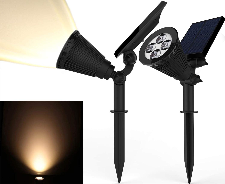 2 Pack New FieldSmith Solar Power LED Landscape Spotlights Bronze