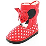 Minnie Mouse Norton Girls Boots - Red/Velcro (Sizes 6,7,8,9,10,11,12)