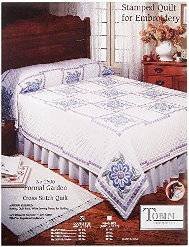 Tobin Formal Garden Stamped Cross Stitch Quilt, 90-Inch x 103-Inch