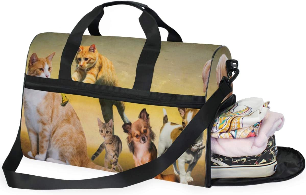 MUOOUM Animal Family Cat Dog Butterfly Large Duffle Bags Sports Gym Bag with Shoes Compartment for Men and Women