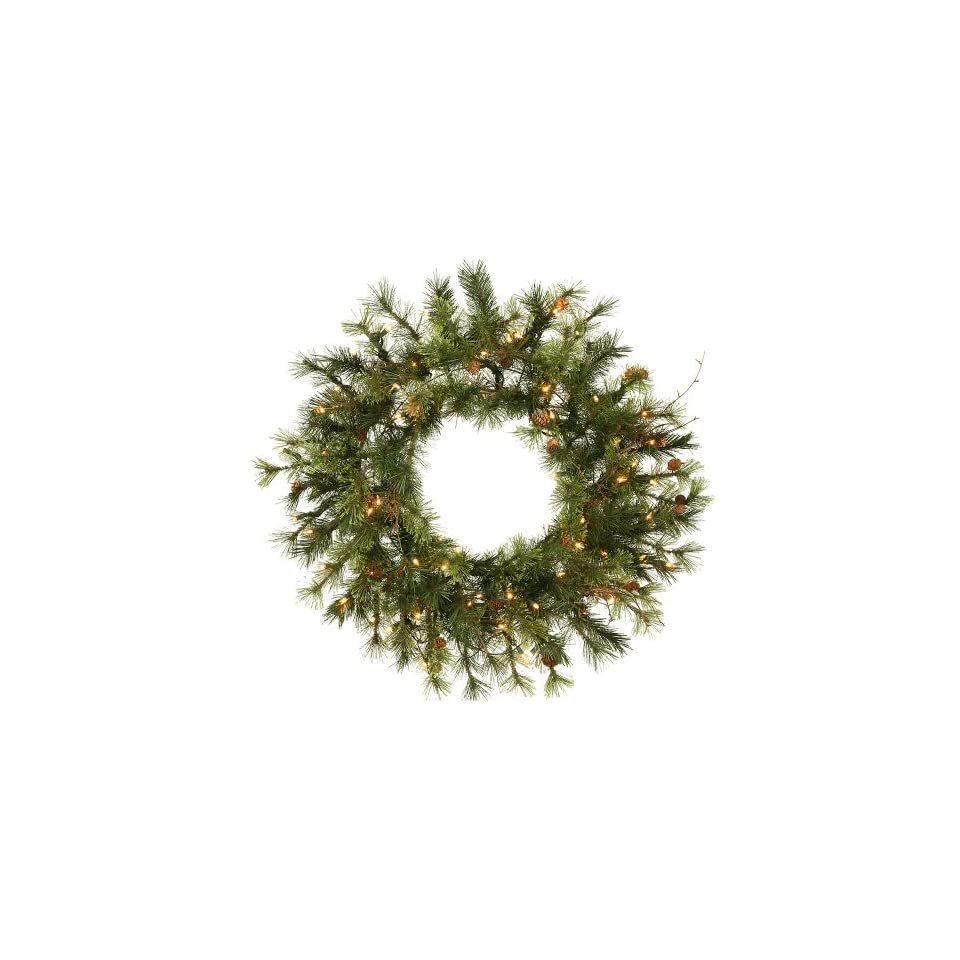 24 Pre Lit Mixed Country Pine Artificial Christmas Wreath   Clear Lights