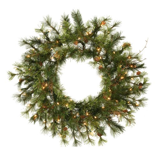 Alaskan Pine Wreath Clear Lights - Vickerman Unlit Flocked Alaskan Artificial Wreath with 35 Clear Lights, 20