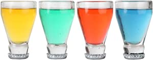 Lily's Home Upside Down Beer Bottle Neck Shot Glasses, Made of Recycled Glass, Ideal for Liquor or Other Beverages (2 oz. Each, Set of 4)