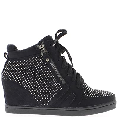 a06789d7a5 ChaussMoi Black Rising Wedge Sneakers with Rhinestones to 6cm Heel - 3