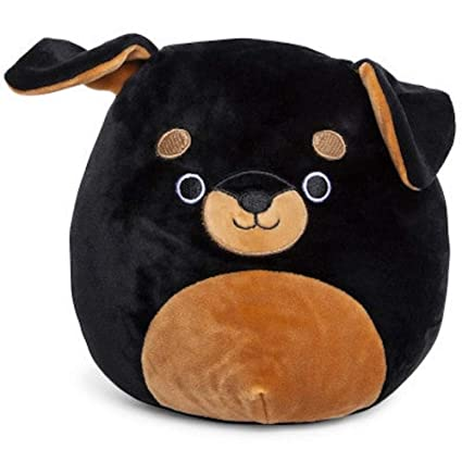 Squishmallows Black Brown Rottweiler Puppy Dog Plush 9 5