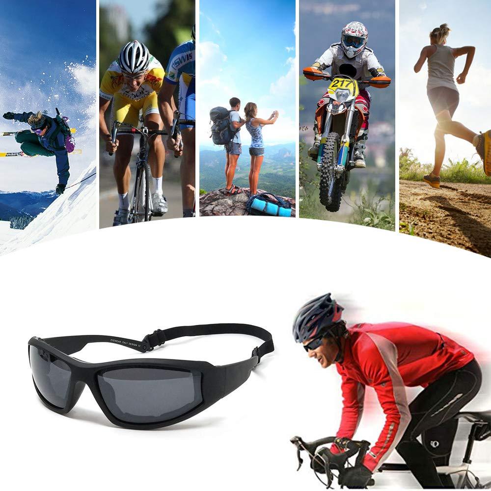 TERAISE Occhiali da equitazione per moto Occhiali da sci regolabili UV400 Occhiali da sole antivento antipolvere protettivi antivento antipioggia per vari sport allaria aperta Black