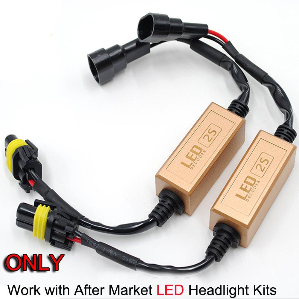Werise 2 X Car Led Headlight Canbus Error Free Computer 9005 9006 Relay Wiring Diagram Warning Canceller Resistor Decoders Anti Flicker Plug Play Hb3 Hb4