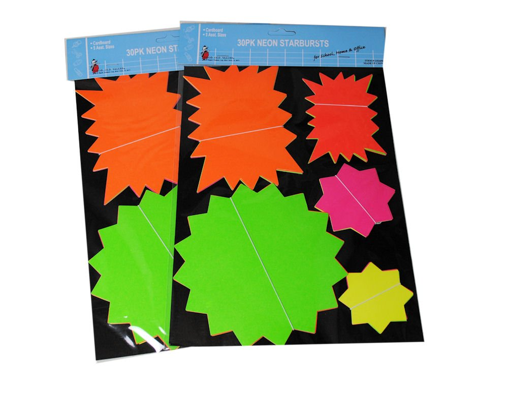 Lot of 120 Neon Starburst Bright Sign Tags Price Sale