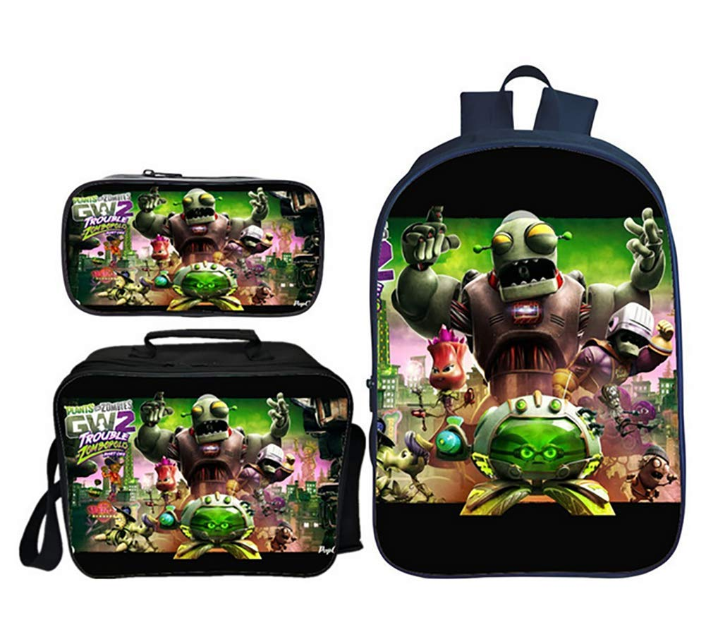 GHDE& Plants vs. Zombies Backpack 3 in 1 Student Bookbag Multifunction Rucksack Lightweight Travel Daypack with Lunch Bag and Pencil Case,4
