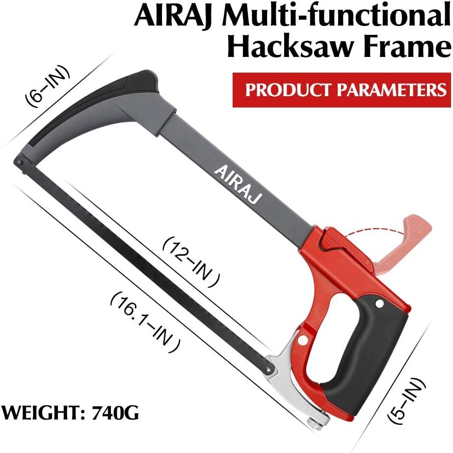 sierra de mano con hoja intercambiable conjunto de marco de sierra para metales multiprop/ósito AIRAJ con 6 hojas de sierra de acero Sierra para metales marco ajustable
