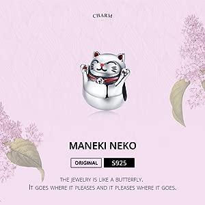 LaMenars Maneki Neko Cat - Colgante de plata de ley 925 ...