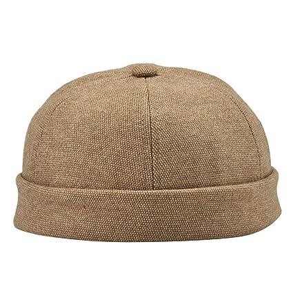 a8b6fbb6c Brimless Beanie Hat,Quaanti Men Women Skullcap Cap Casual Docker Sailor  Mechanic Brimless Solid Color Sailor Hat (Khaki)