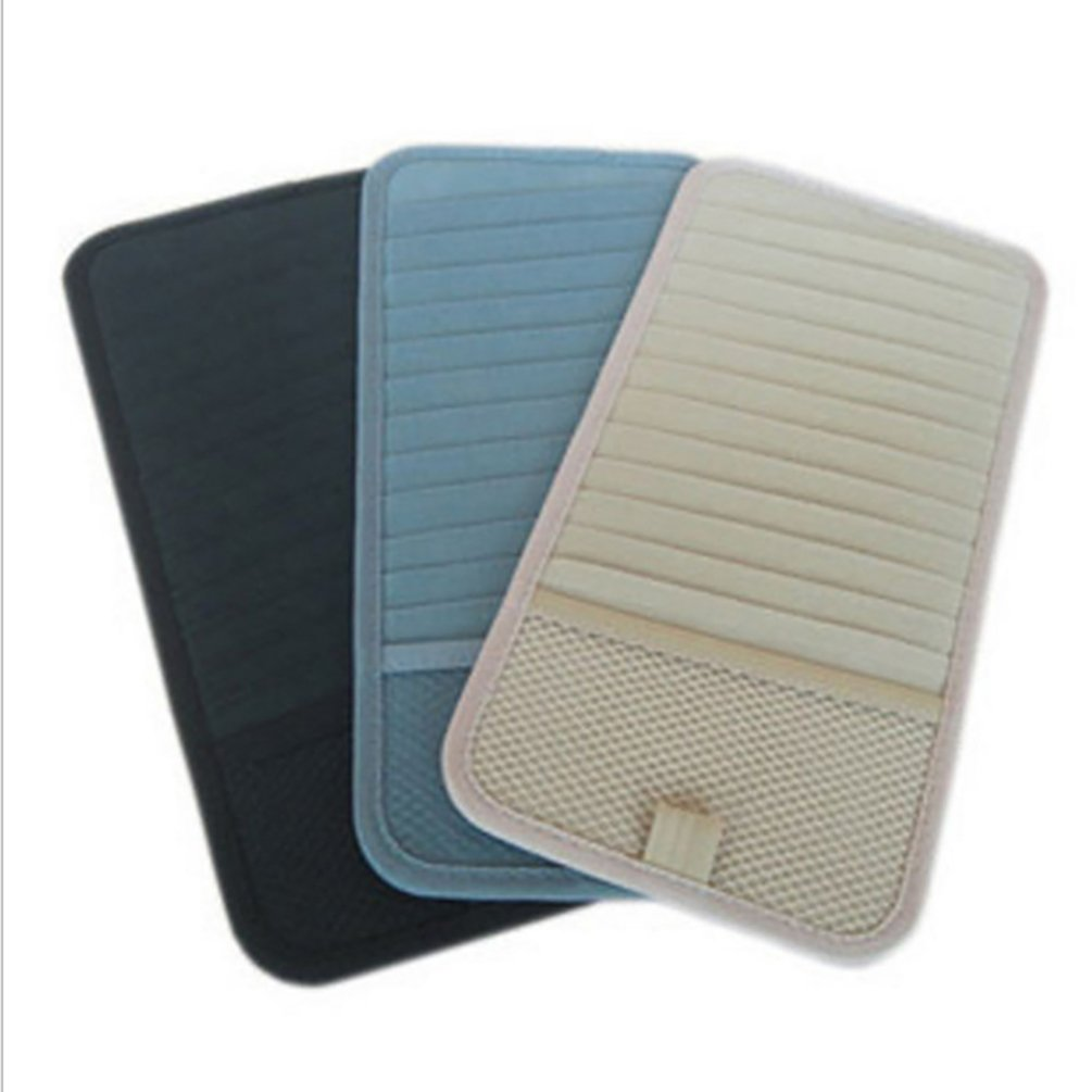 HOBULL 3Pcs Sun Visor Sunshade Sleeve Wallet Clips Car CD DVD Holder 12 Disc Storage Case Organizer