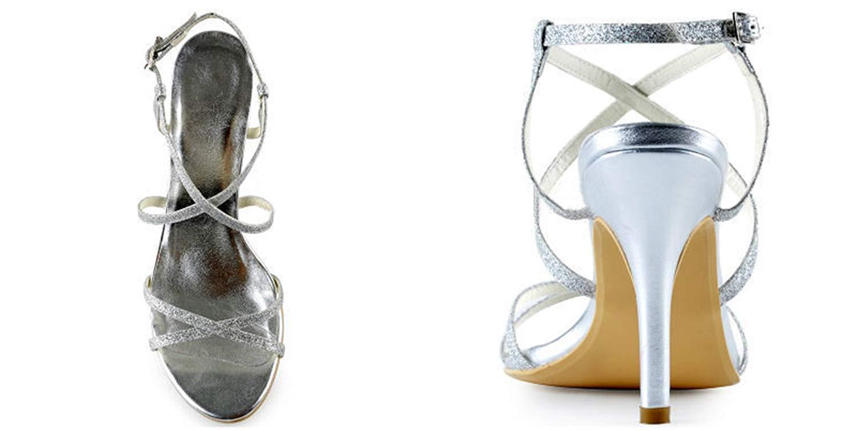 Qiusa Damen Knöchel Wrap Silber Glitter Formale Partei Partei Partei Hochzeit Slingback Sandalen UK 7.5 (Farbe   - Größe   -) 756d3c
