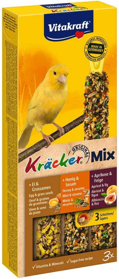 Vitakraft -21229 - Kräcker Trio-Mix(EI-Grassamen/Aprikose-Feige/Honig-Sesam) Kanarien -80g