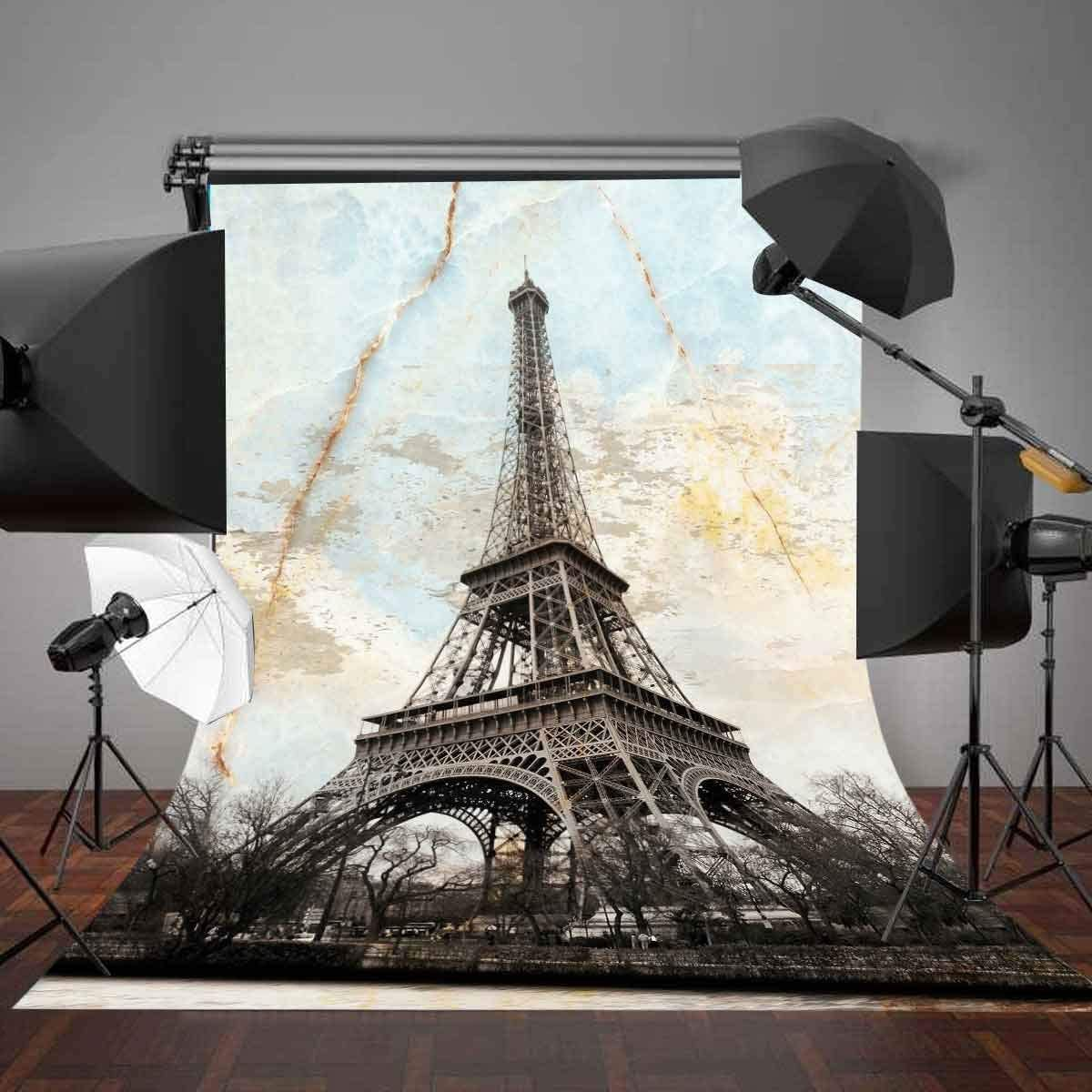 GoEoo 5X7ft Grey Style Backdrop Paris Eiffel Tower Photography Background Vintage Photo Video Shooting Props LYGE568