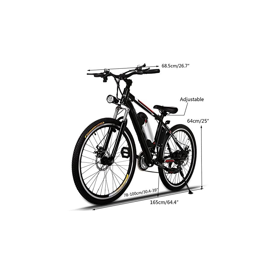 "Garain 21 speed Electric Mountain Bicycle E bike With 26"" Wheel, Removable 36V Large Capacity Lithium ion Battery, Battery Charger (US Stock Black)"