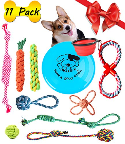 Puppy For Christmas Present - Pet Puppy Dog Chew Toys 11 Pack, BKING-BOX Assorted Puppy Chew Teething Rope Toys Set for Small and Medium Breeds