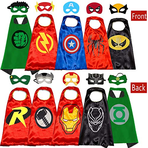 Kids Cartoon Hero Capes - Role Playing Halloween Costumes and Masks Birthday Party Gifts (5PCS) -