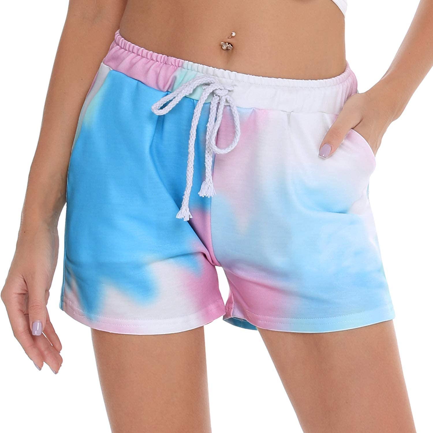 Irevial Women Tie Dye Pajamas Shorts Drawstring Exercise Shorts Sleeping Bottoms Sweatpants with Pockets