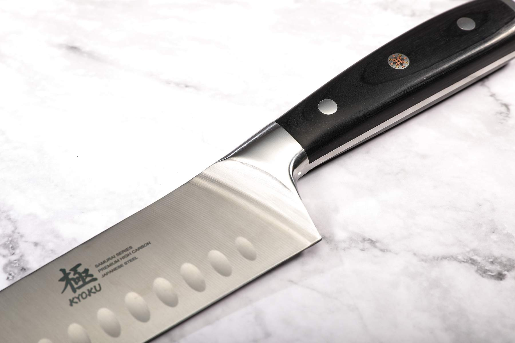 KYOKU Samurai Series - Santoku Chef Knife 7'' with Sheath & Case - Full Tang - Japanese High Carbon Steel - Pakkawood Handle with Mosaic Pin by KYOKU (Image #5)