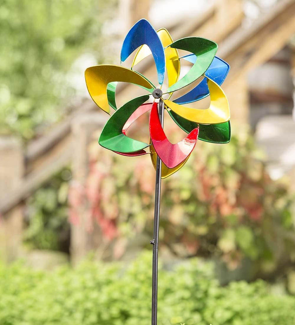 Midi Flower Outdoor Garden Metal Wind Spinner 14.5 dia. x 8.5 D x 48 H