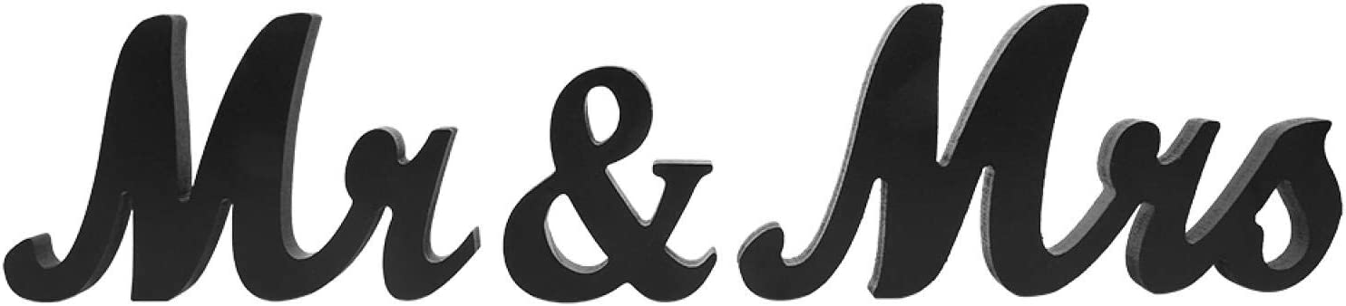 HERCHR Mr and Mrs Wood Sign, Mr & Mrs Wooden Letters Wedding Signs Decorative Alphabet for Wedding Table, Party Table(Black)