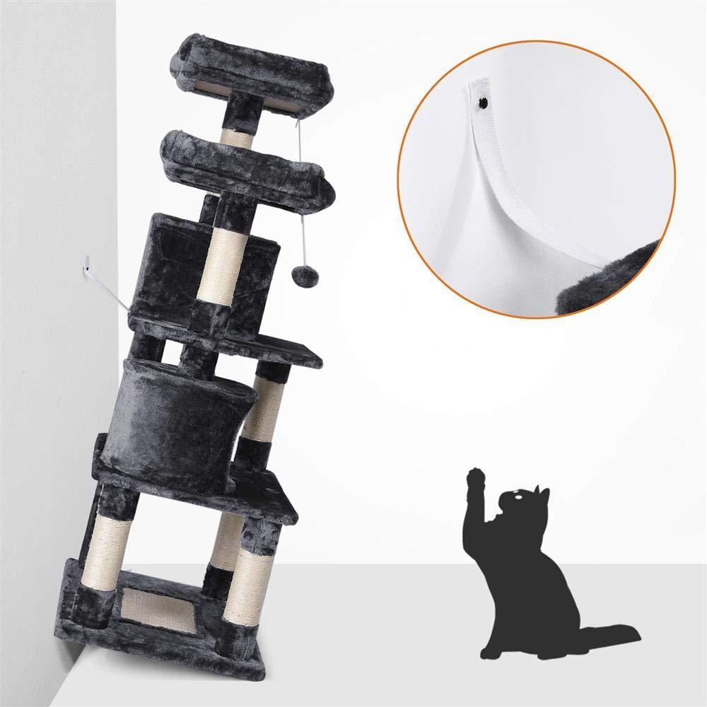 Yaheetech /Árboles para Gatos Rascador Juego para Mascota Casa de Gatos Sisal Plataformas Altura 145 cm Gris Oscuro