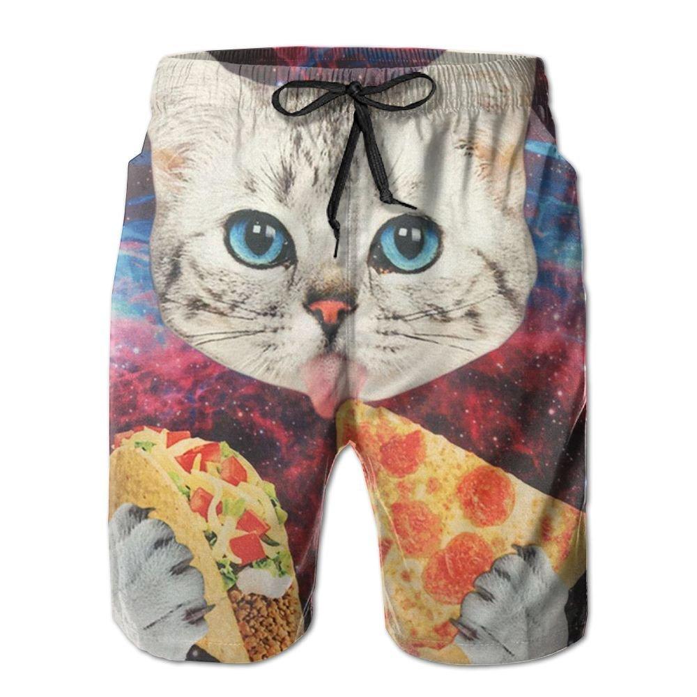 STXXKNS Galaxy Space Kitten Cat Eat Pizza Men Leisure Funny Loose Pants