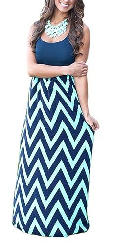 Demetory Women`s Chevron Striped Casual Maxi Dress