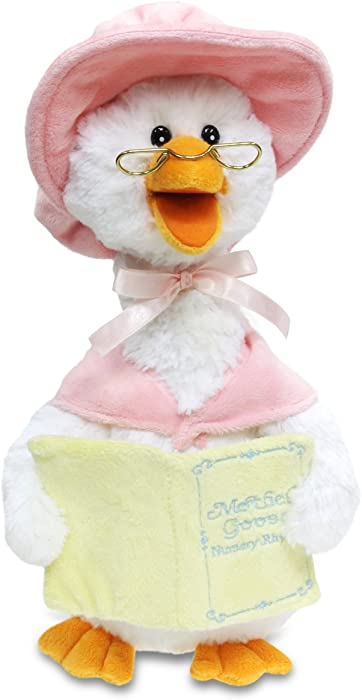 """Cuddle Barn Mother Goose Animated Talking Musical Plush Toy, 14"""" Super Soft Cuddly Stuffed Animal Moves and Talks, Captivates Listeners by Reading 7 Classic Nursery Rhymes - Pink"""