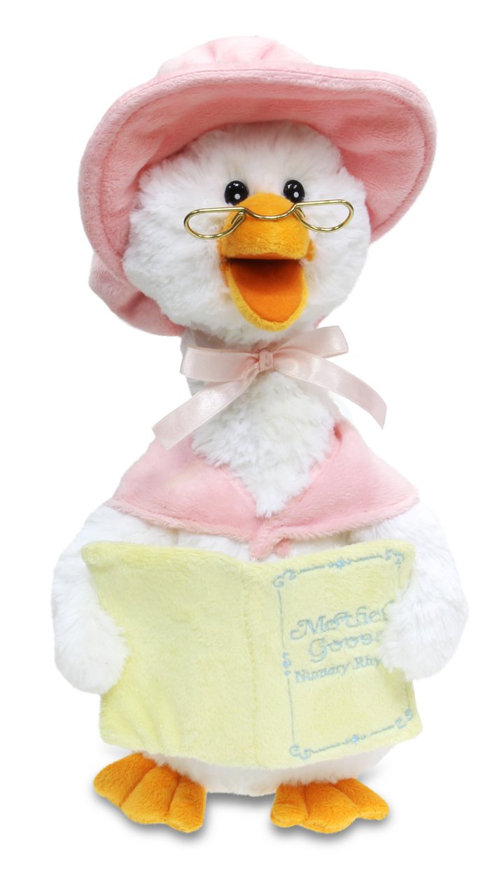 Cuddle Barn Mother Goose Animated Talking Musical Plush Toy, 14'' Super Soft Cuddly Stuffed Animal Moves and Talks, Captivates Listeners by Reading 7 Classic Nursery Rhymes - Pink