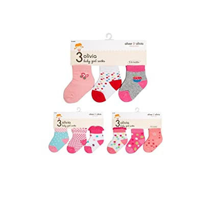 cc696328392a2 9 Pairs of Baby Socks for Girls 0 - 6 Months - Olivia Baby Boutique ...