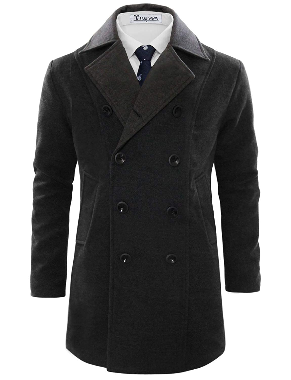 ebdeab6a1 TAM WARE Men's Stylish Wool Blend Pea Coat